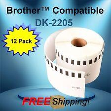 12 Rolls Labels123 Brand Fits Brother Dk 2205 P Touch Ql700 Ql500 Printers
