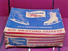 Vintage 1950s Canadian Flyer Womens Ladies Leather Figure Ice Skates - Size 8