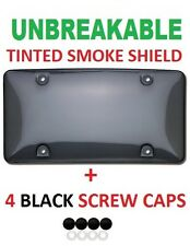 Universal Tinted UNBREAKABLE License Plate Shield Cover + 4 Black Screw Caps