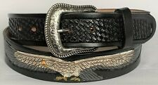 MEN'S BELTS casual western accessories BLACK EAGLE & CONCHO LEATHER BELT 38 NWOT