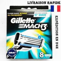 Gillette Mach 3, lames de rasoir pour rasage homme LOT de 8 lames rechange tete