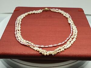 Schöne echte Perlenkette Perlmutt Rosa collier 43 cm Verschluss Gold 585