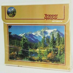 Vntg 90's Mead Trapper Keeper 3 Ring Binder Blue Lake Mountains Trees #29096