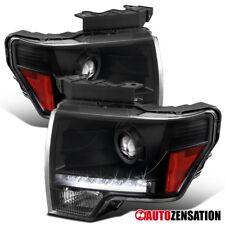 2009-2014 Ford F-150 Black Projector Headlights w/ LED DRL Strip