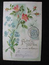 """CPA fleurs roses et myosotis """"Parlez pour moi """""""