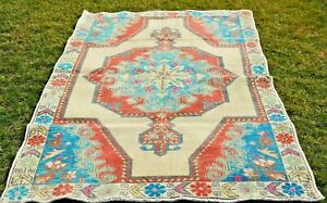 Turkish Handmade Oushak Nomadic Carpet Anatolian Medallion Design Wool Rug 4x7ft