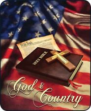GOD and COUNTRY Full Queen BLANKET : AMERICAN FLAG BIBLE PRAYER FAUX FUR THROW