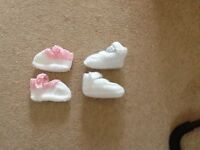 Baby girl handknitted soft shoes x 2 pairs, white and pink, new not used