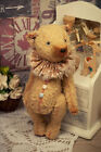 Artist teddy bear, antique vintage bear, sawdust mustard bear, 6in, ooak mini