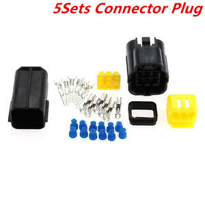 Car Automotive Waterproof 5 Sets 6 Pin Way Amp Sealed Wire Connector Plug Black