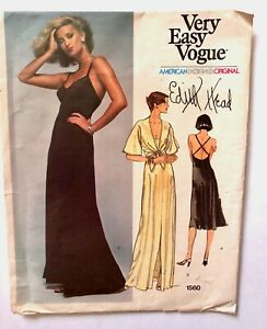 Vintage EDITH HEAD Vogue American Designer Original Sewing Pattern FACTORY FOLDS