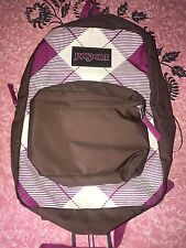 JANSPORT ~ Brown Pink White Book Bag Striped Backpack School Back 2-Pouch
