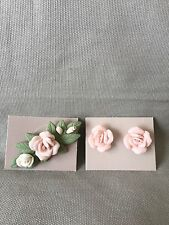 Avon 1987 Porcelain Petals Pin and Earrings Set