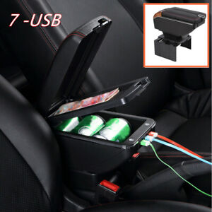 1* 7USB Charging Car Dual Opening Armrest Box Central Console Cup Holder Storage