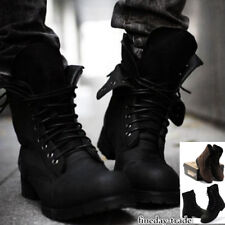 Punk Rock Mens Cool Military Combat Retro Lace Up Motorcycle Ankle Boots Shoes