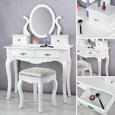 Schminktisch Frisierkommode in Weiß Kosmetiktisch mit Hockerund Spiegel Holz NEU