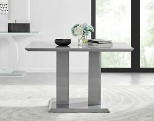 IMPERIA Grey High Gloss Dining Table Set And 4 Chrome Faux Leather Dining Chairs