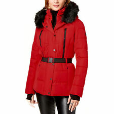Michael Kors Women's Red Lightweight Scuba Belted Puffer Coat Jacket