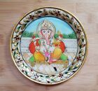 14.5cm Marble Stone Plate Religious Lord Ganesha Hinduism Hand painted