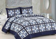 BLUE WHITNEY Full Queen QUILT SET : BEAR CLAW COUNTRY NAVY WHITE PRINT BEDDING