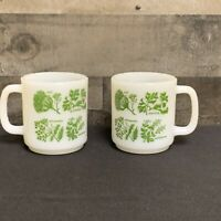 Vintage MILK GLASS D-handle Green Herbs Stackable lot of 2 Coffee Cup Mug