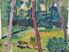 Back Yard Landscape & Trees Expressionist Oil Painting-1960s-I.L. Winarsky