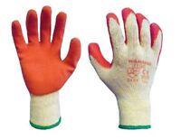 Warrior Orange Latex Rubber Waterproof Palm Work Gloves Builders Gardening