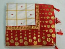 Indian Ethnic Silk Saree Contrast Red Border& Blouse White Sari Party Wear Dress