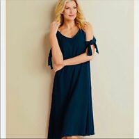 Soft Surroundings Navy Destin Cold Shoulder Dress Womens Large