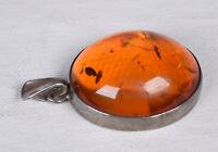 """Vintage 925 Sterling Silver Amber Pendant Large 1 1/2"""""""