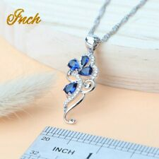 Floral Bridal 925 Sterling silver & sapphire cubic zirconia jewellery set