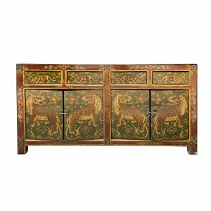 Chinese Brown Tibetan Style Jaguar Sideboard Console Table Cabinet cs6945