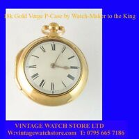 Mint 18k Gold Fusee Verge London  P-Case Watch, made by Watch-Maker to King 1766