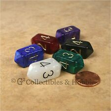 NEW Set of 6 Crystal Caste D4 Pearl Dice - Six Colors D&D RPG Four Sided Die