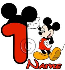 IRON ON TRANSFER PERSONALISED birthday ANY NAME (# UP TO 5) MICKEY MOUSE14x14