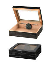 20 Cigar Travel Humidor with Humidifier Glass Top Black Finish TR20G-BLK