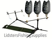NGT FISHING ROD POD INDICATORS RESTS + 3 FISHING ALARMS BLACK CAMO GREEN CAMO