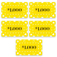 15 Ct Square Rectangular 32 Gram $1000 Yellow Poker Plaques Square Chips