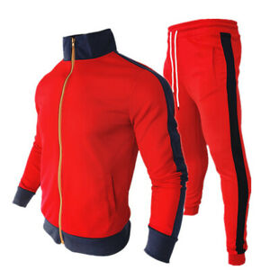 Mens Tracksuit Casual 2 Piece Athletic Pants Sweater Jacket Sweatsuit Sport Set