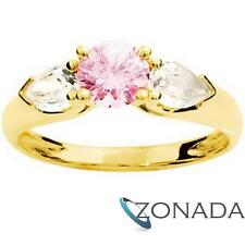Pink GEMSTONE 9ct 9k Solid Yellow Gold Ring Size P 7.75 23205