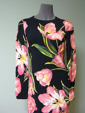Dolce & Gabbana AUTH NEW Pink Tulip Blooms Cady Sheath Dress 44 Long Sleeves