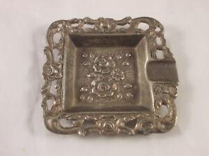 Alter Mini Aschenbecher 835 Silber mit Blumenmotiv 47 Gramm