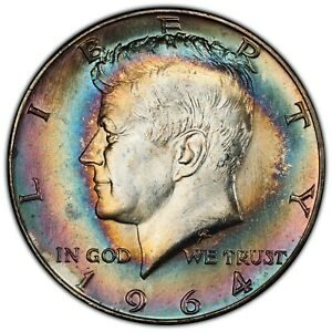 1964 50C PCGS MS66 SILVER KENNEDY ~ MONSTER TWO-SIDED RAINBOW TONER!