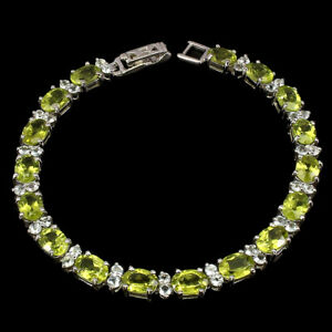 Unheated Oval Peridot 7x5mm White Topaz 925 Sterling Silver Bracelet 7.5inches