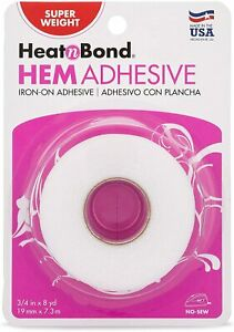 HeatnBond Hem Iron On Adhesive No Sew Double-sided Tape For Fabric 3/4''x8yds