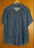 Cremieux Collection Men's Large 100% Linen blue short sleeve button up shirt top