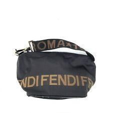 Fendi Vintage Logos Nylon Small Shoulder Bag Black Authentic