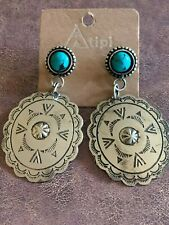 Back Earrings Turquoise Concho Post