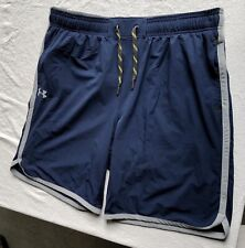 Men'S Navy Blue Zip Pocket Gray Accent Loose Under Armour Shorts Xl W18/L10/R12