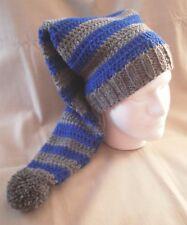Handmade Knit Hat/beanie - Blue & Grey stripes, extra long